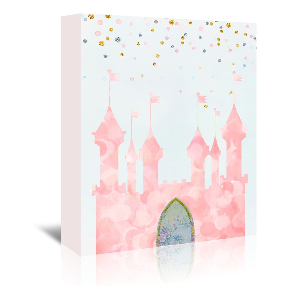 pink castle painting print on wrapped canvas