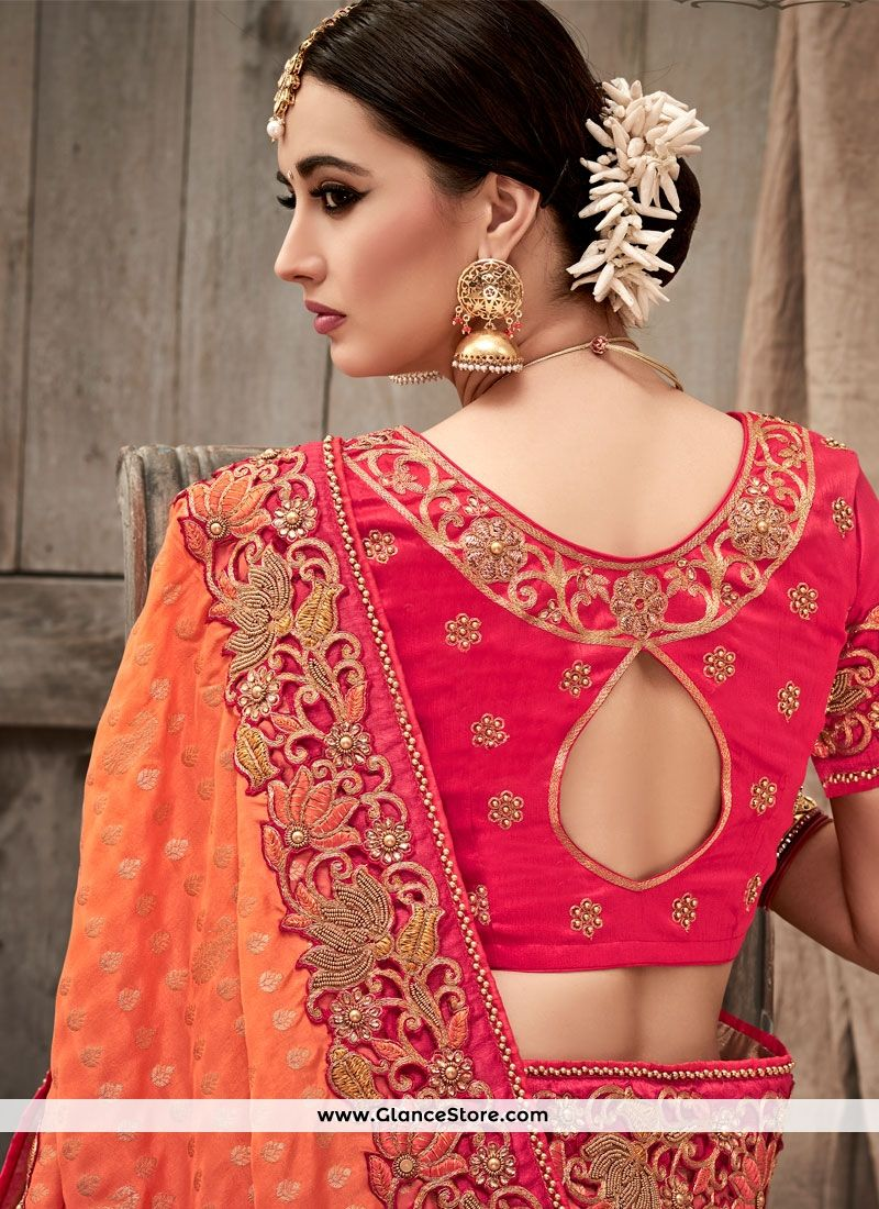 df6376318b Pleasing Hot Pink And Peach Designer Half N Half Saree | wardrobe ...