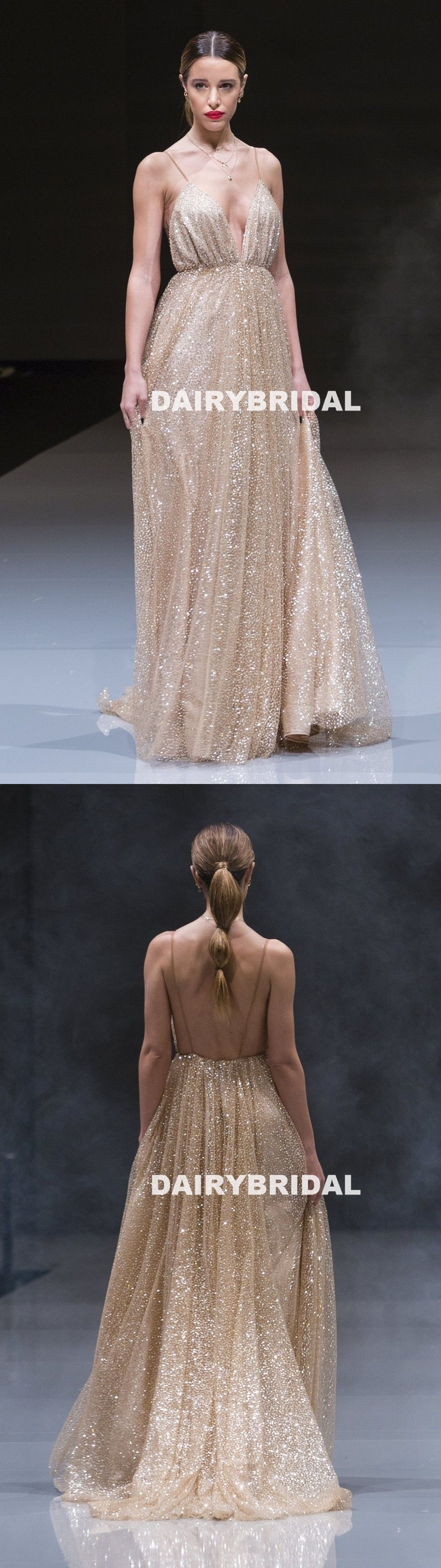 Sparkle sequin tulle vneck prom dresses sexy golden backless prom