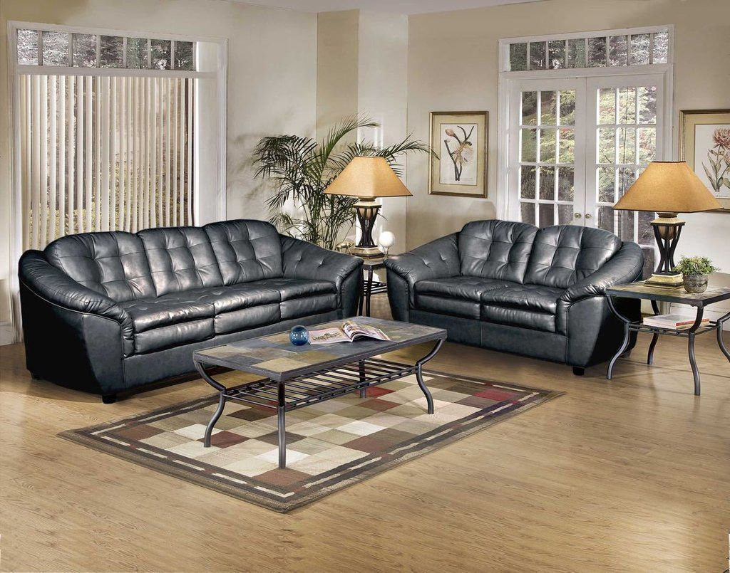 Serta Upholstery Stetson Black Sofa And Loveseat My Furniture Place Living Room Sets Leather Sofa Bed Love Seat #serta #living #room #sets