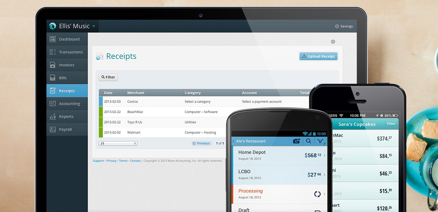 Overview of receipts in wave apps Accounting, Accounting