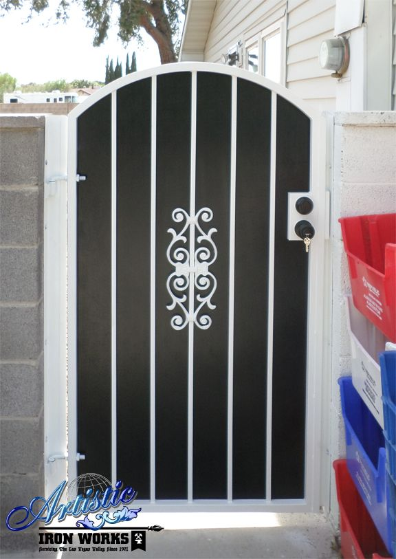 Black And White Wrought Iron Side Gate Gate Design Wrought Iron