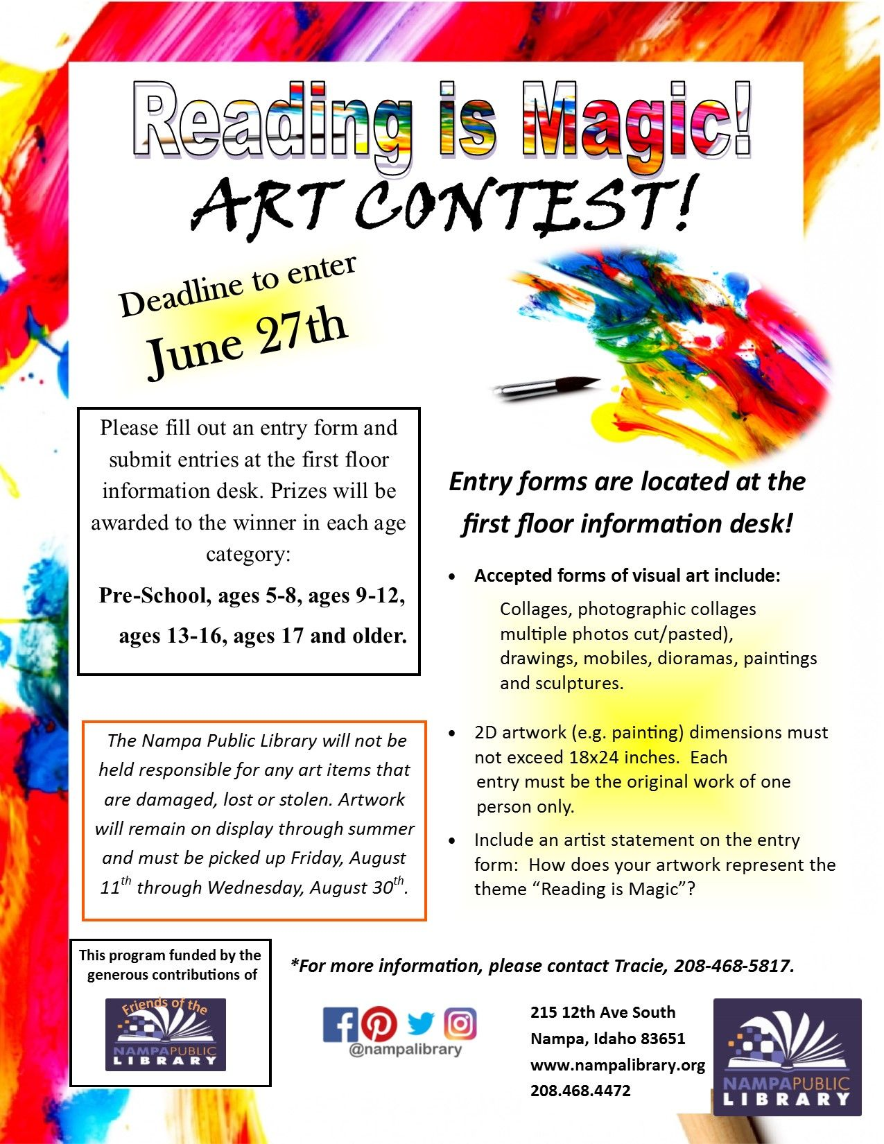 Reading Is Magic Art Contest  Deadline To Enter Is June Th