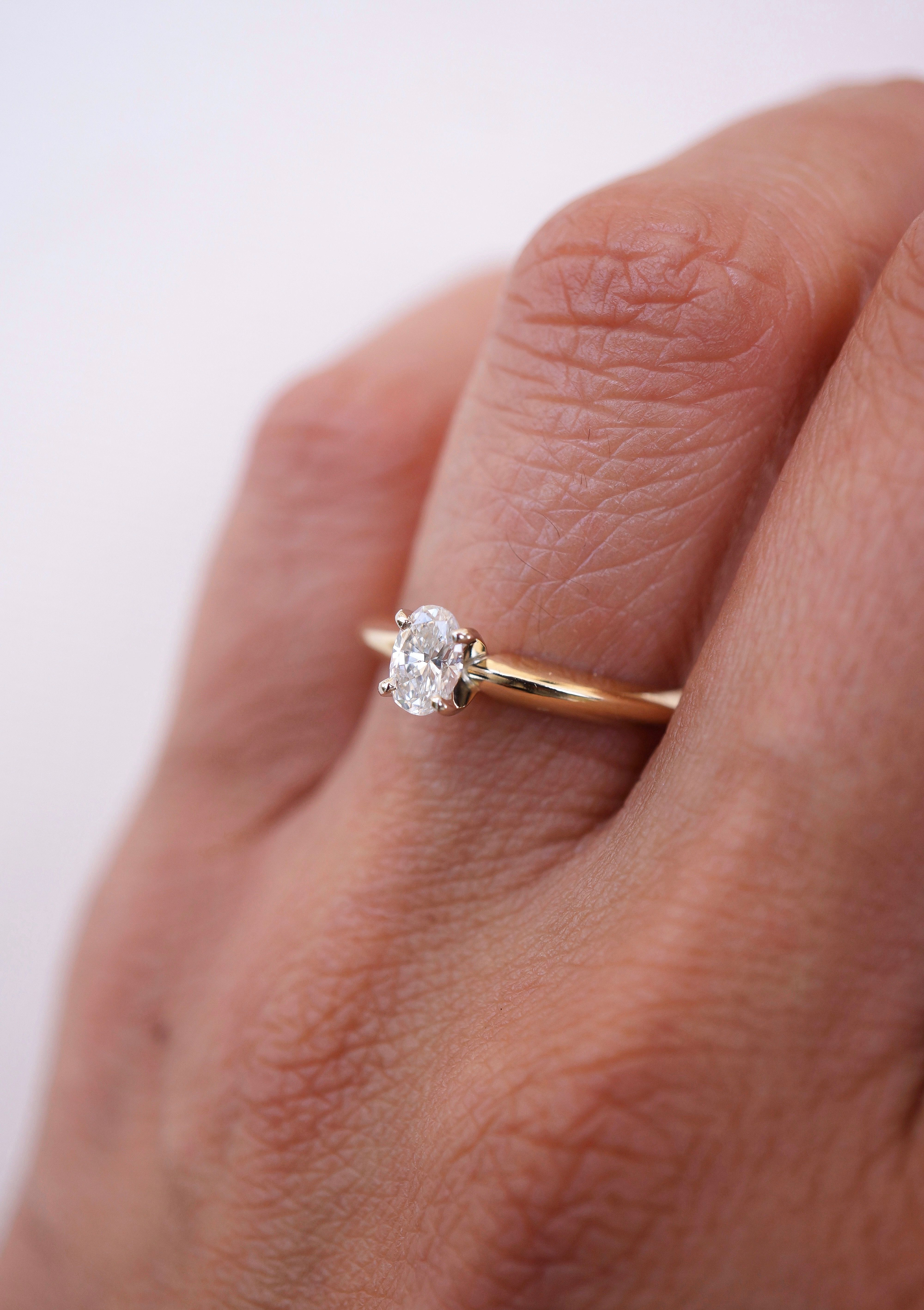 Oval Diamond Solitaire Ring in 14k Yellow Gold, Dainty Oval Diamond ...