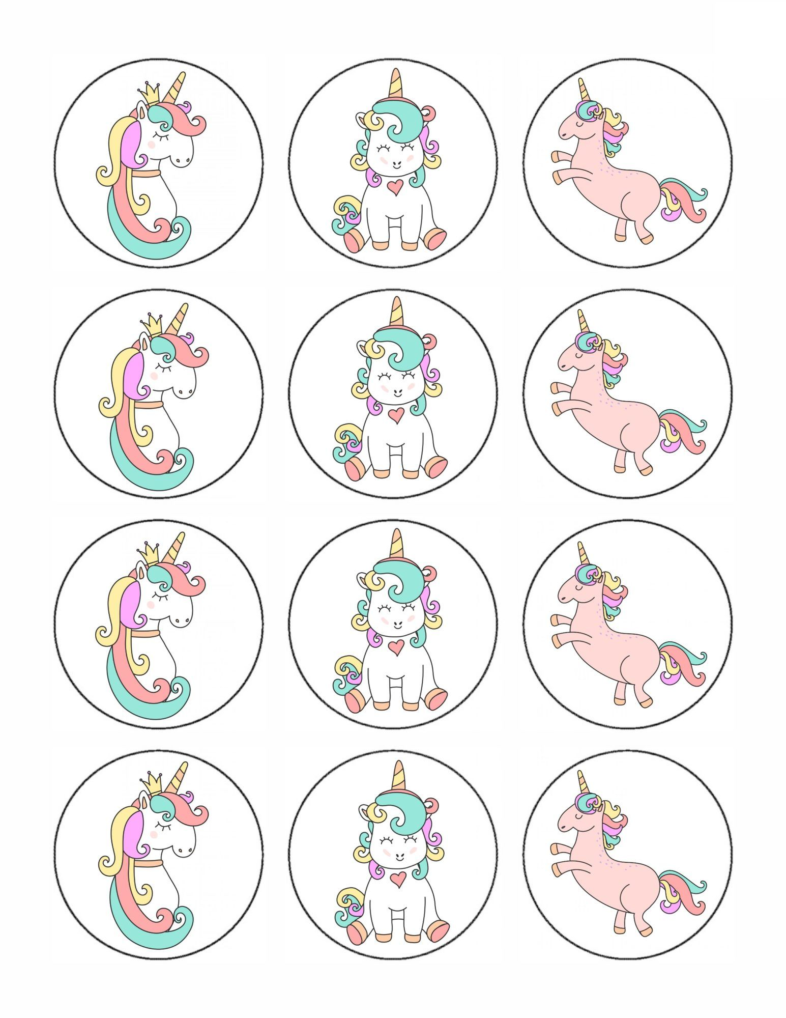 image relating to Unicorn Cupcake Toppers Printable called Cost-free Printable Unicorn Cupcake Toppers Elli Ethan