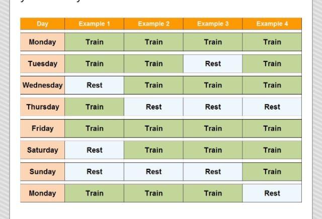 Crossfit training schedule.