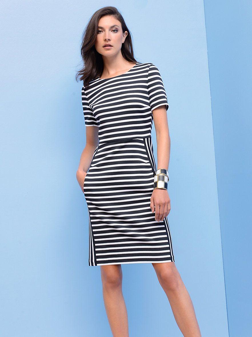 Strenesse - Jersey-Kleid mit 16/16-Arm - Schwarz/Weiß  Kleider