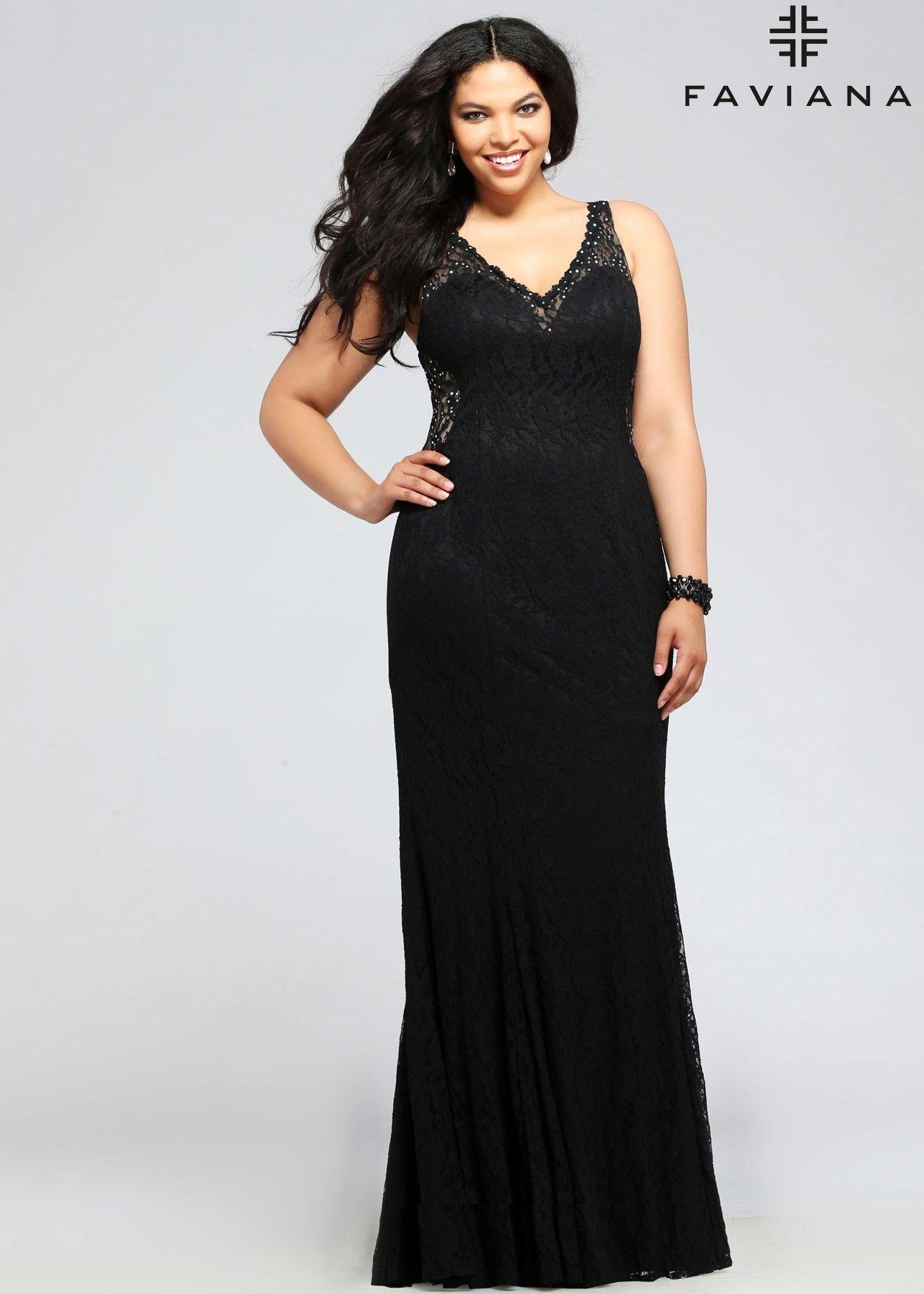 Faviana 9386 V-Neck Lace Plus Size Evening Dress | Prom, Black laces ...