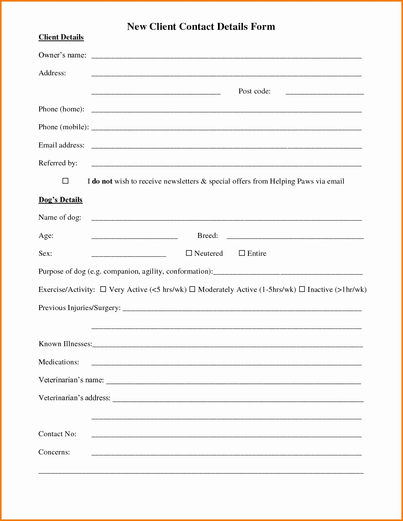 Client Profile Template Word Unique Customer Information Form Template Student Information Sheet Templates Template Free