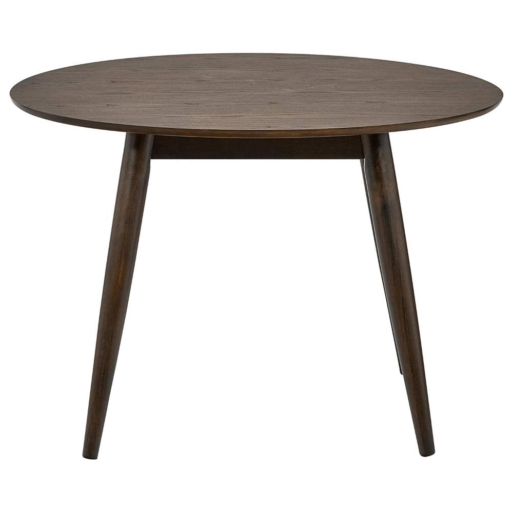 Amazon Com Rivet Mid Century Round Wood Dining Table 42 W Chestnut Tables Round Wooden Dining Table Round Wood Dining Table Dining Table