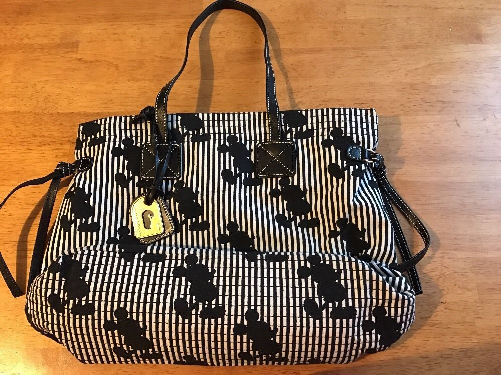dd870a9642e9ef Mickey Mouse Black And White Stripped Tote | Bags | Disney handbags ...