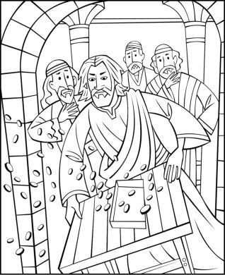 animals and money changers in the temple at Jerusalem coloring page - copy christian nursery coloring pages