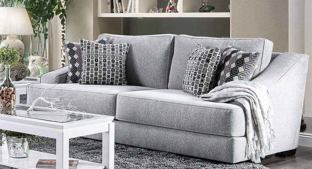 Chenille Fabric Contemporary Style Sofa With 4 Pillows Gray Sofas For Small Spaces Couches For Small Spaces Sofa