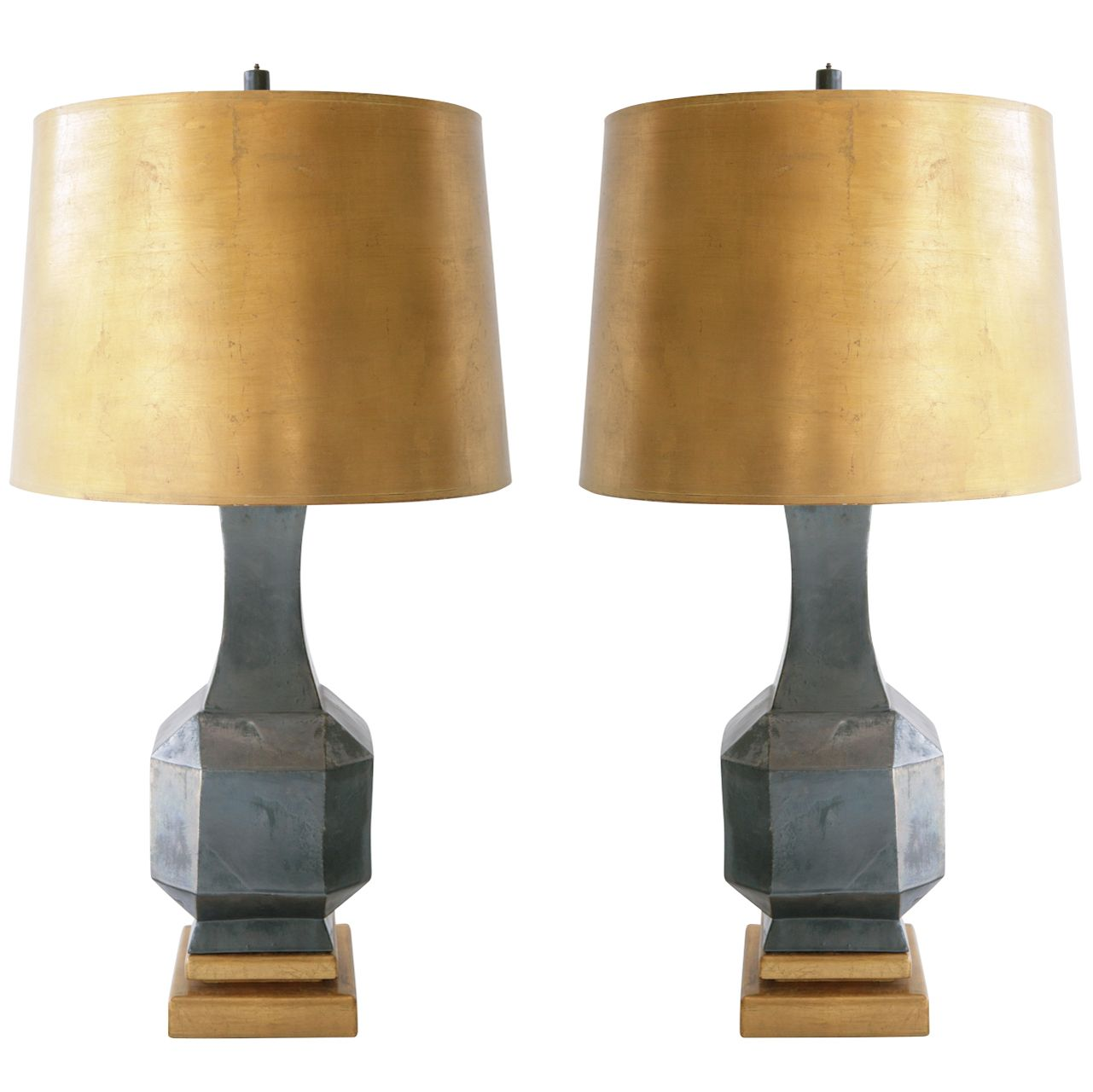 Pair Of Gunmetal Grey Glazed Ceramic Lamps With Gold Leaf Shades
