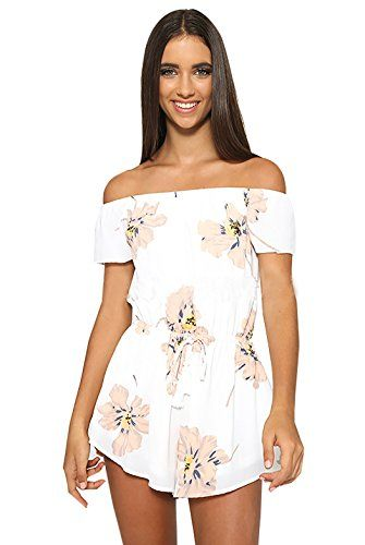 d715c1c67bb6 Moxeay Floral Offshoulder Waisted Bodycon Jumpsuit Playsuit Romper Overall  Asia Small floral     More info could be found at the image url.