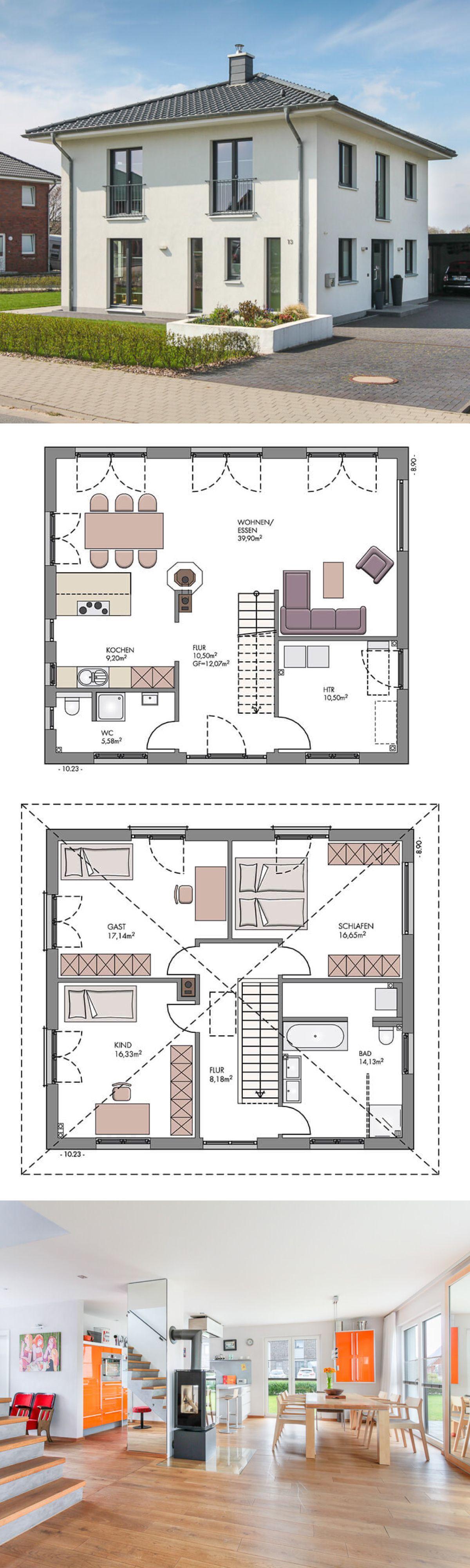 Stadtvilla Neubau modern Bauhausstil Design, Kamin & Zeltdach ...