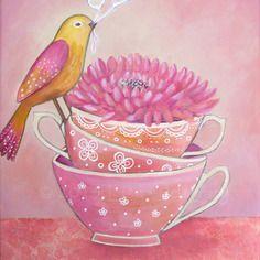 """Peinture d'oiseau """" le petit messager """" 22 x 27 cm."""