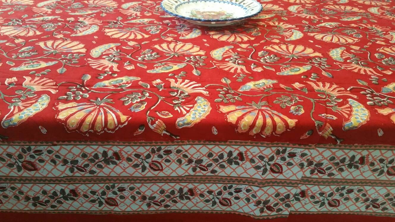 Block Print Dining Table Cover Indian Linen Hand Made Ethnic Runner