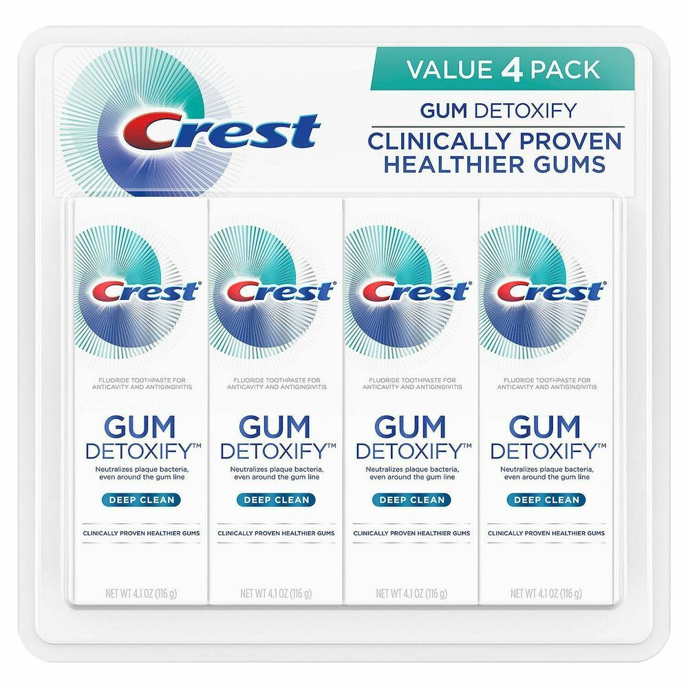 Crest Gum Detoxify Toothpaste Deep Clean 4 1 Oz 4 Pack Oral Care Ebay Fluoride Toothpaste Toothpaste Deep Cleaning