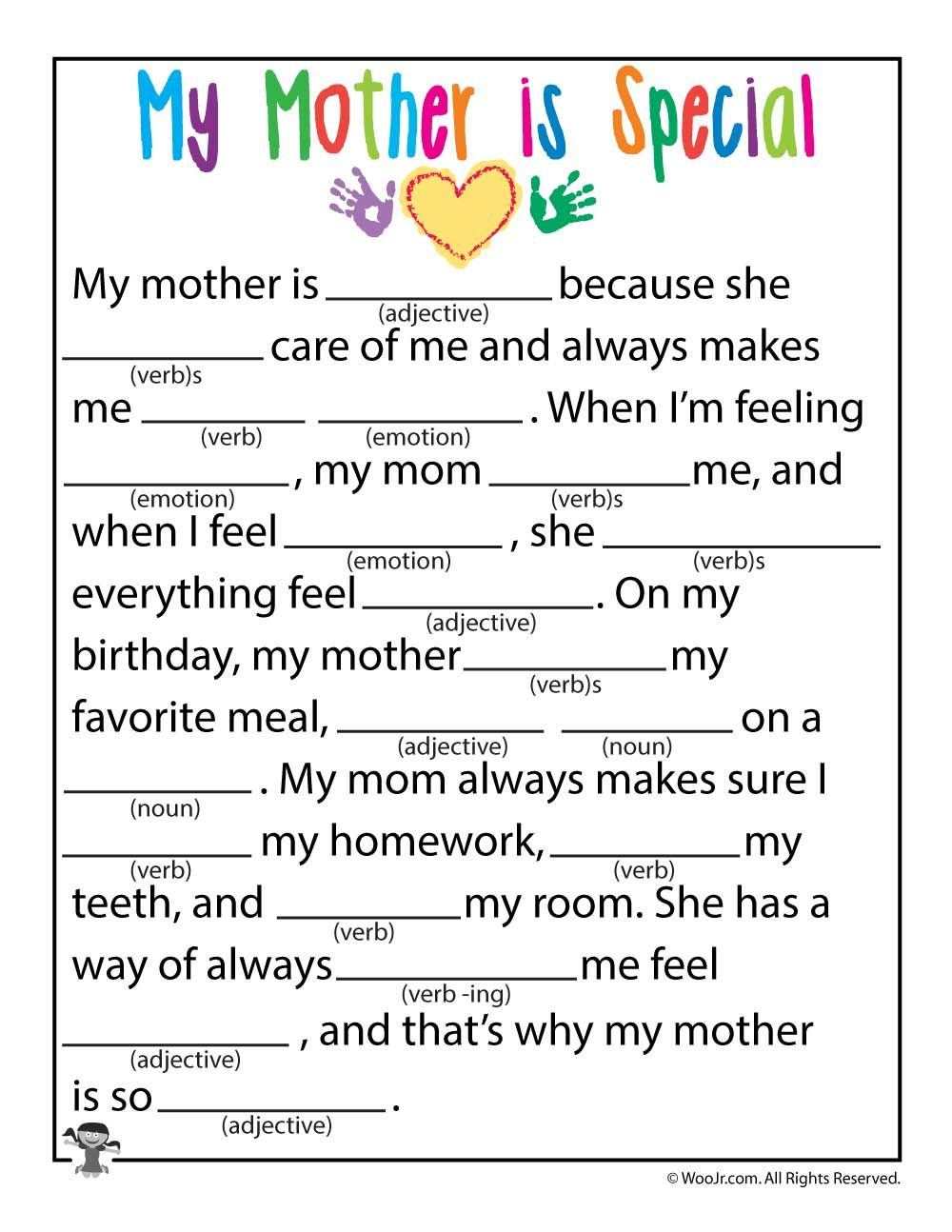 Mother S Day Mad Libs Woo Jr Kids Activities Kids Mad Libs Mother S Day Activities My Mother Essay [ 1294 x 1000 Pixel ]