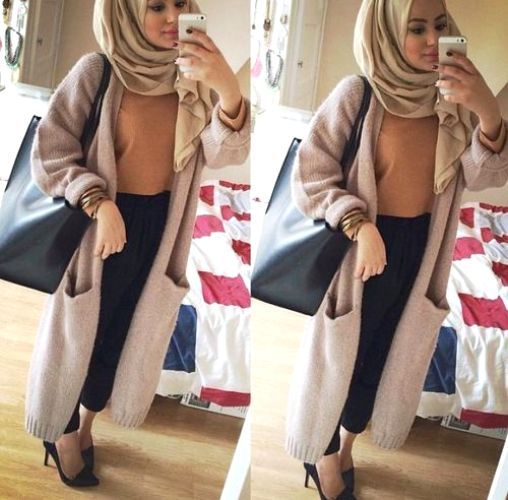hijab chic beige coat