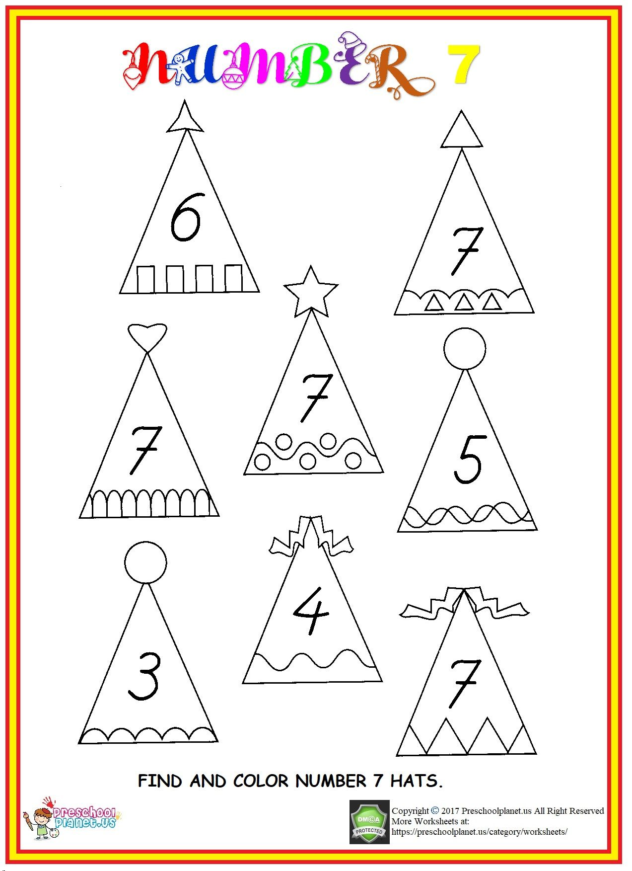 Find Number 7 Worksheet Numbers Preschool Preschool Worksheets Worksheets For Kids