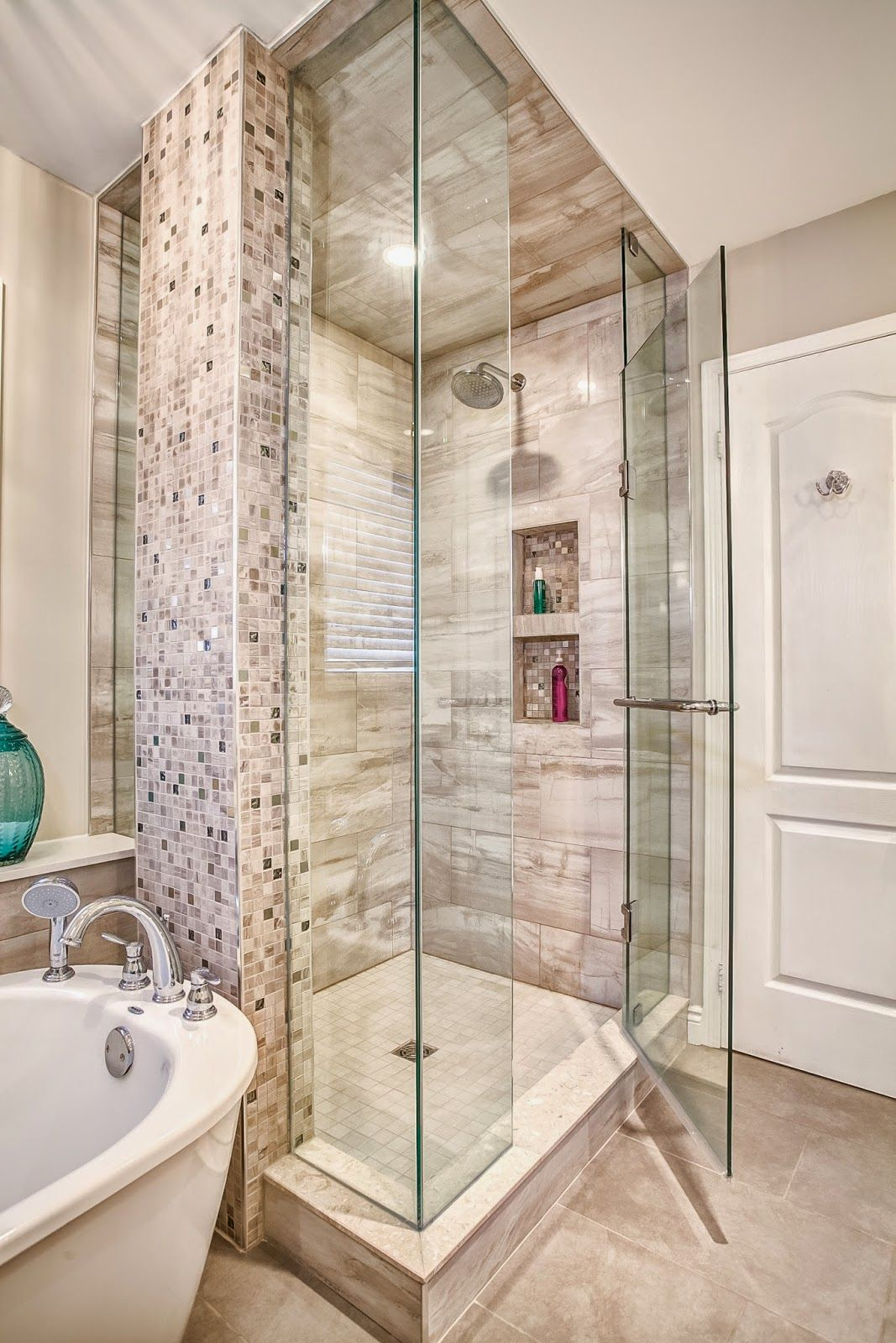 Monarch Kitchen and Bath Centre- glass shower, mosaic tile, frame ...