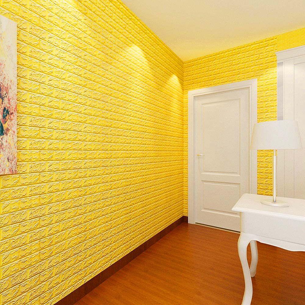 PE Foam 3D Wallpaper DIY Stickers Wall Decor Embossed Brick Stone 60 ...