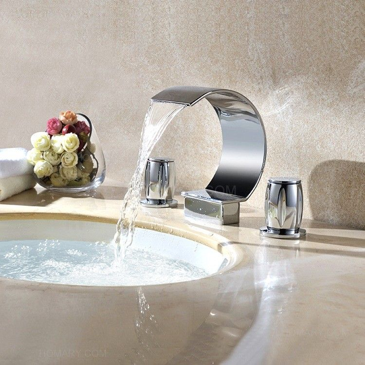 Mooni Waterfall Widespread Sink Faucet Shiny Gold Or Chrome