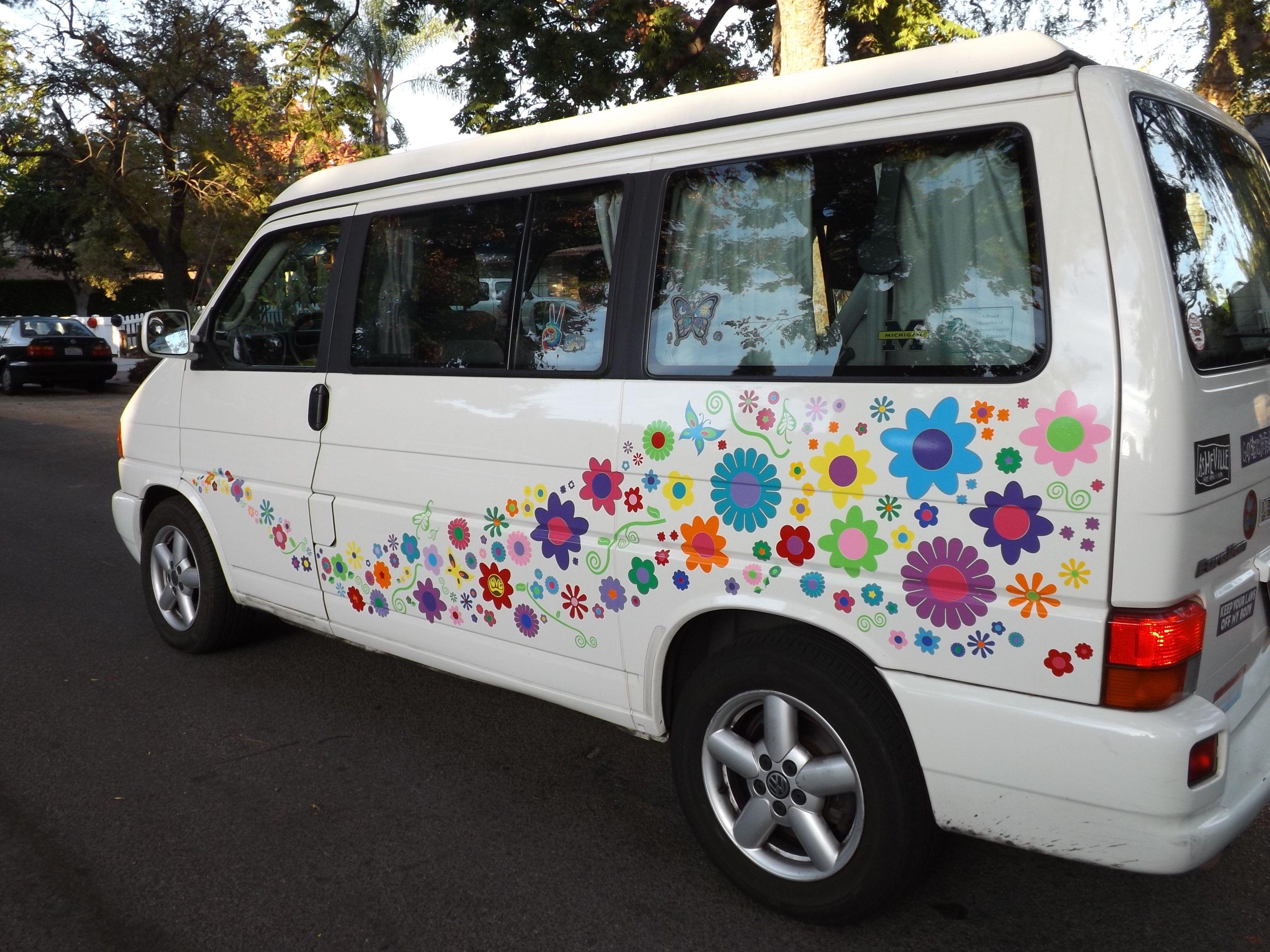Vw Hippy Flower Makeover Car Sticker Ideas Vans Stickers Hippie Car [ 2304 x 3072 Pixel ]