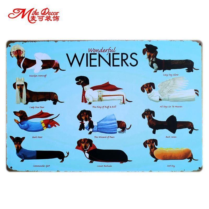 Wonderful Wieners Metal Sign Dachshund Dog Vintage Metal Dachshund