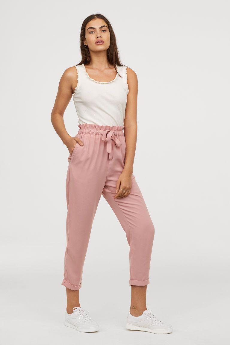 einzigartiges Design heißer verkauf authentisch Großhandelspreis H&M Paper-bag Pants - Pink | Fashion in 2019 | Linen pants ...