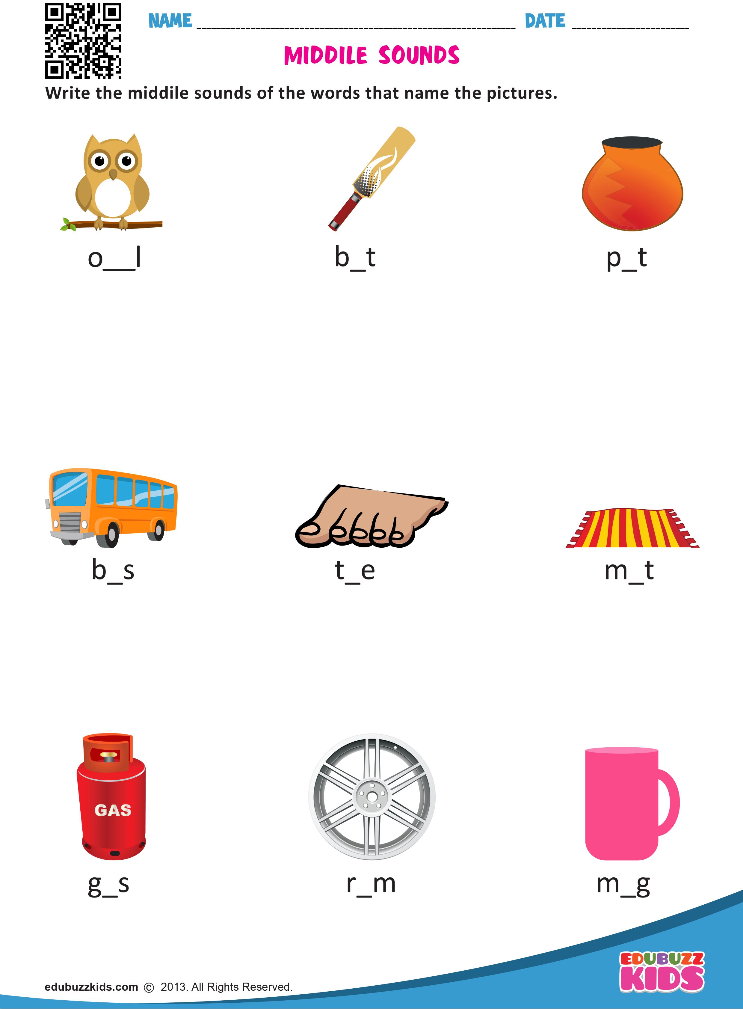 Free English Middle Sounds Worksheets For Kindergarten