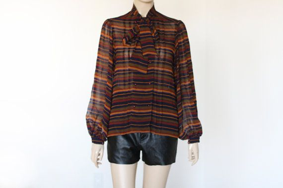 80's Chiffon Albert Nippon Striped Blouse by wemovevintage on Etsy, $45.00