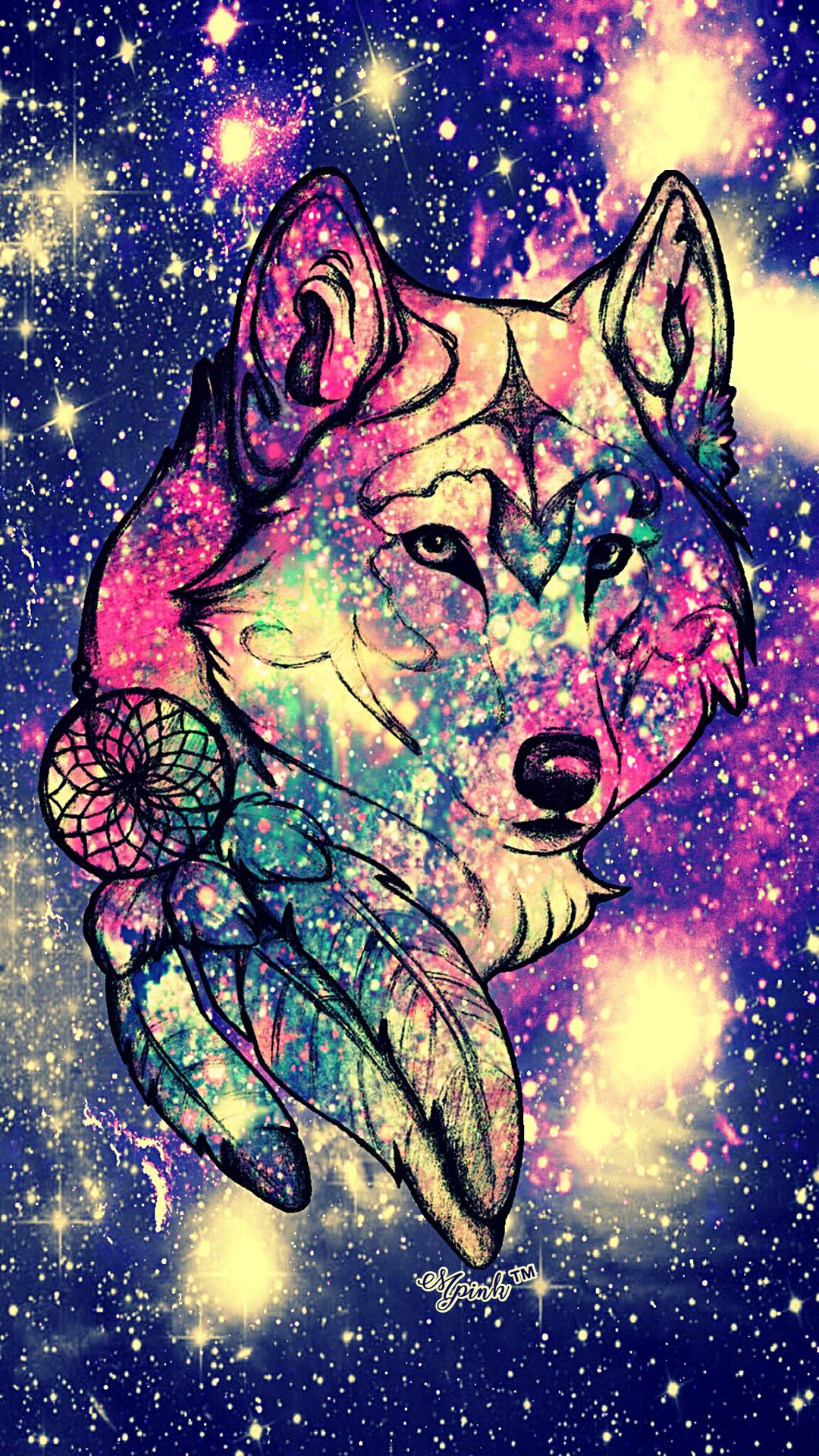Cute Galaxy Glitter Anime She Wolf Wallpaper