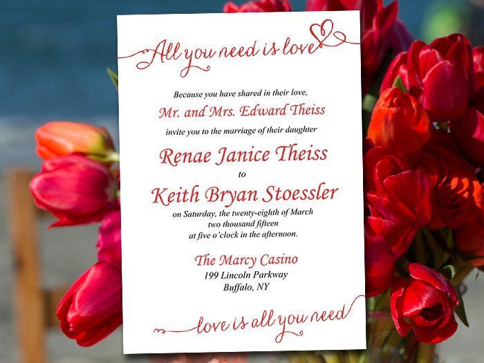 Wedding Invitation Template Download - Valentine Red Invitation - download invitation card
