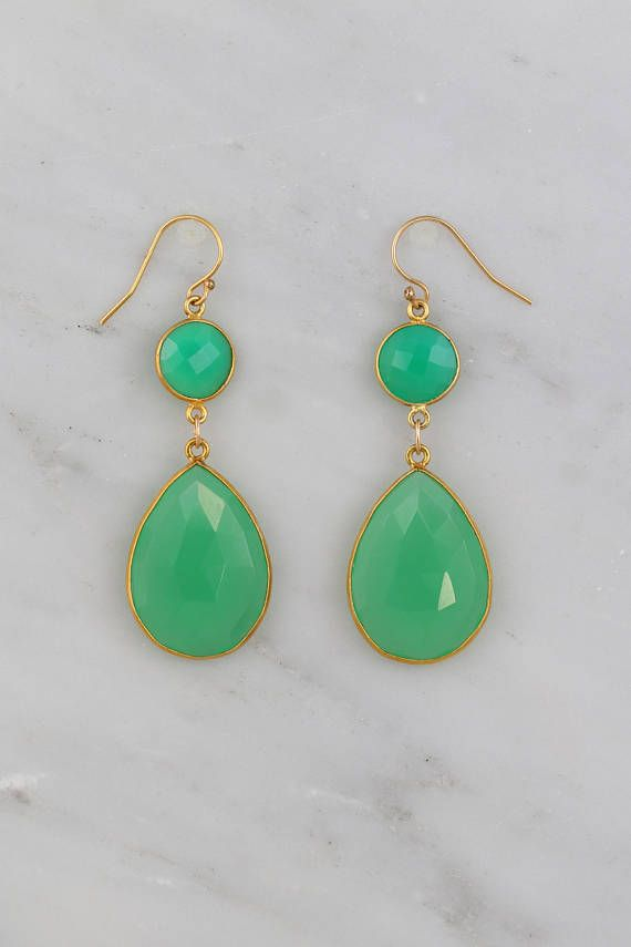 Chrysoprase Earring Two Tier Green Gemstone Gold Filled Wires