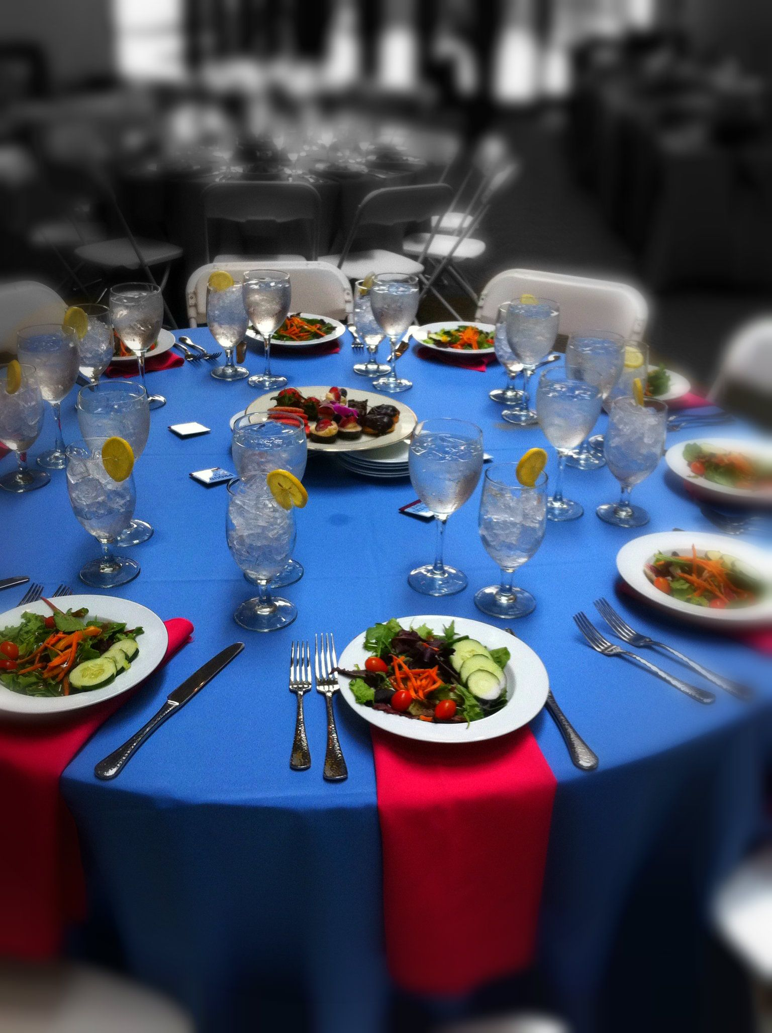 Chefs Table Catering Pink Blue Luncheon Great Table Design - The chef's table catering
