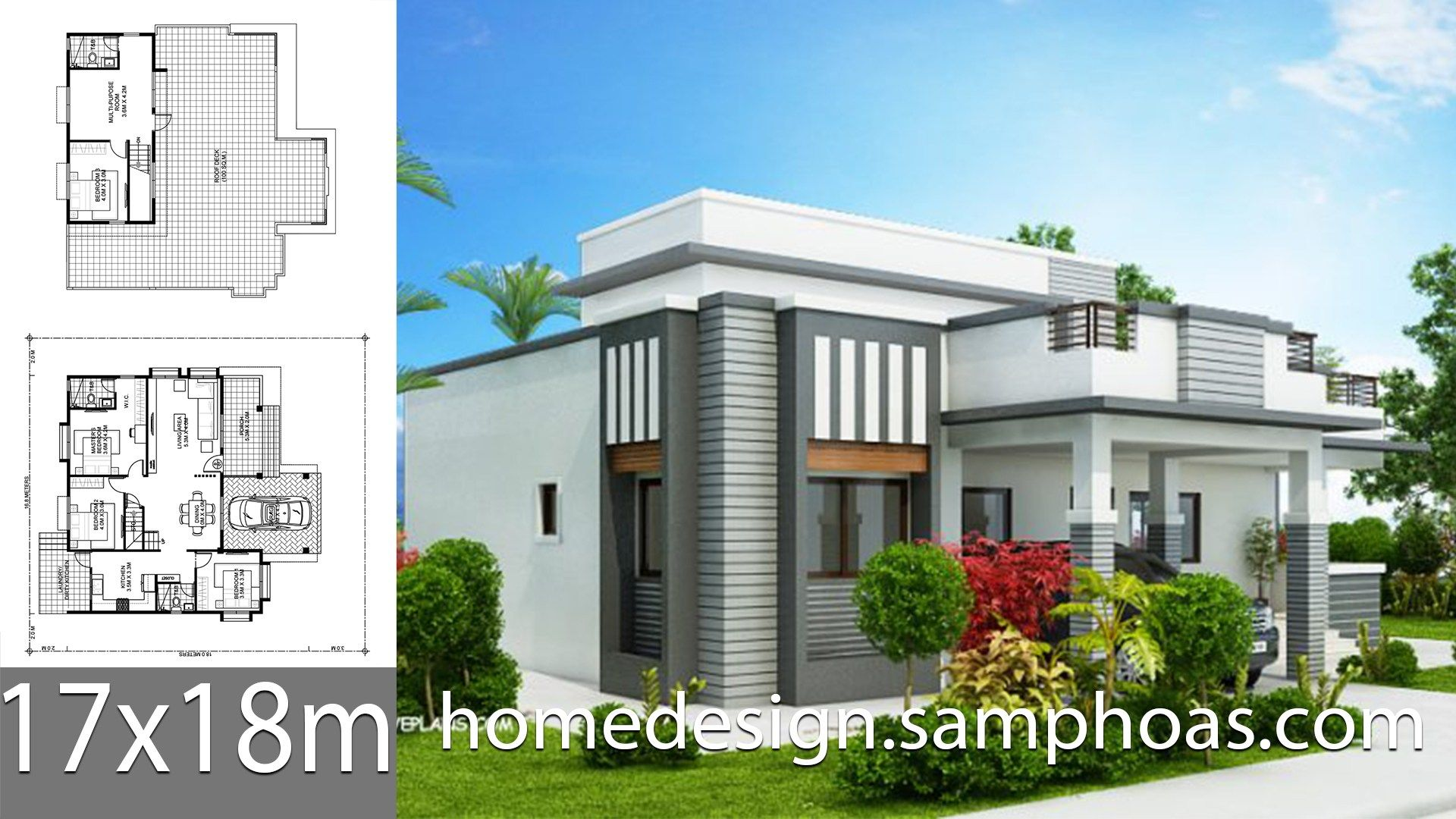 House Plans 17x18m With 4 Bedroom Style Modern Terrace Slaphouse Description Ground Level 3 Bedro Beautiful House Plans Architectural House Plans House Plans