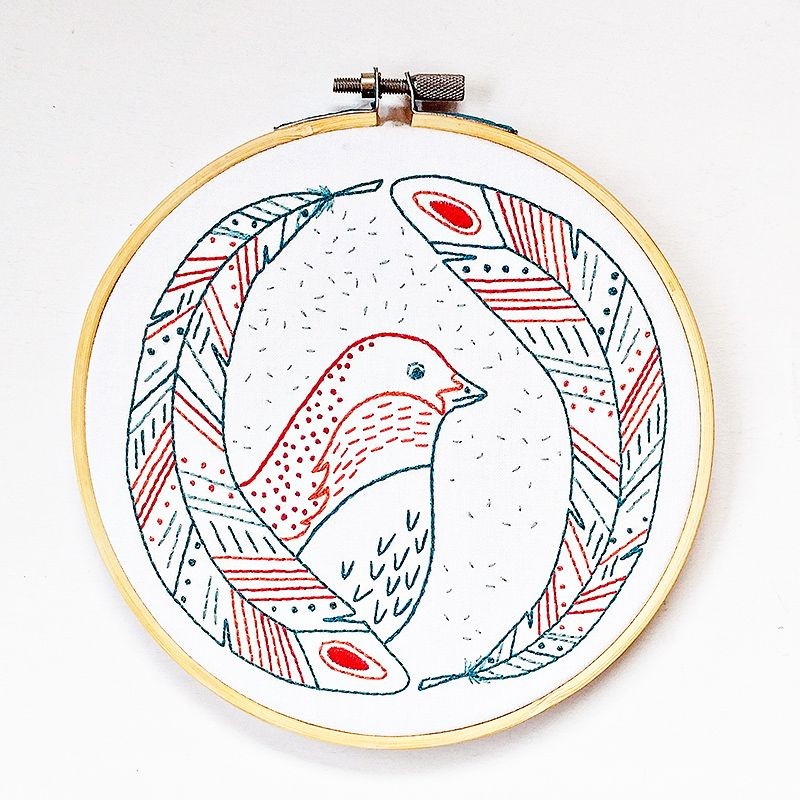 Diy bird of a feather embroidery kit by cozyblue
