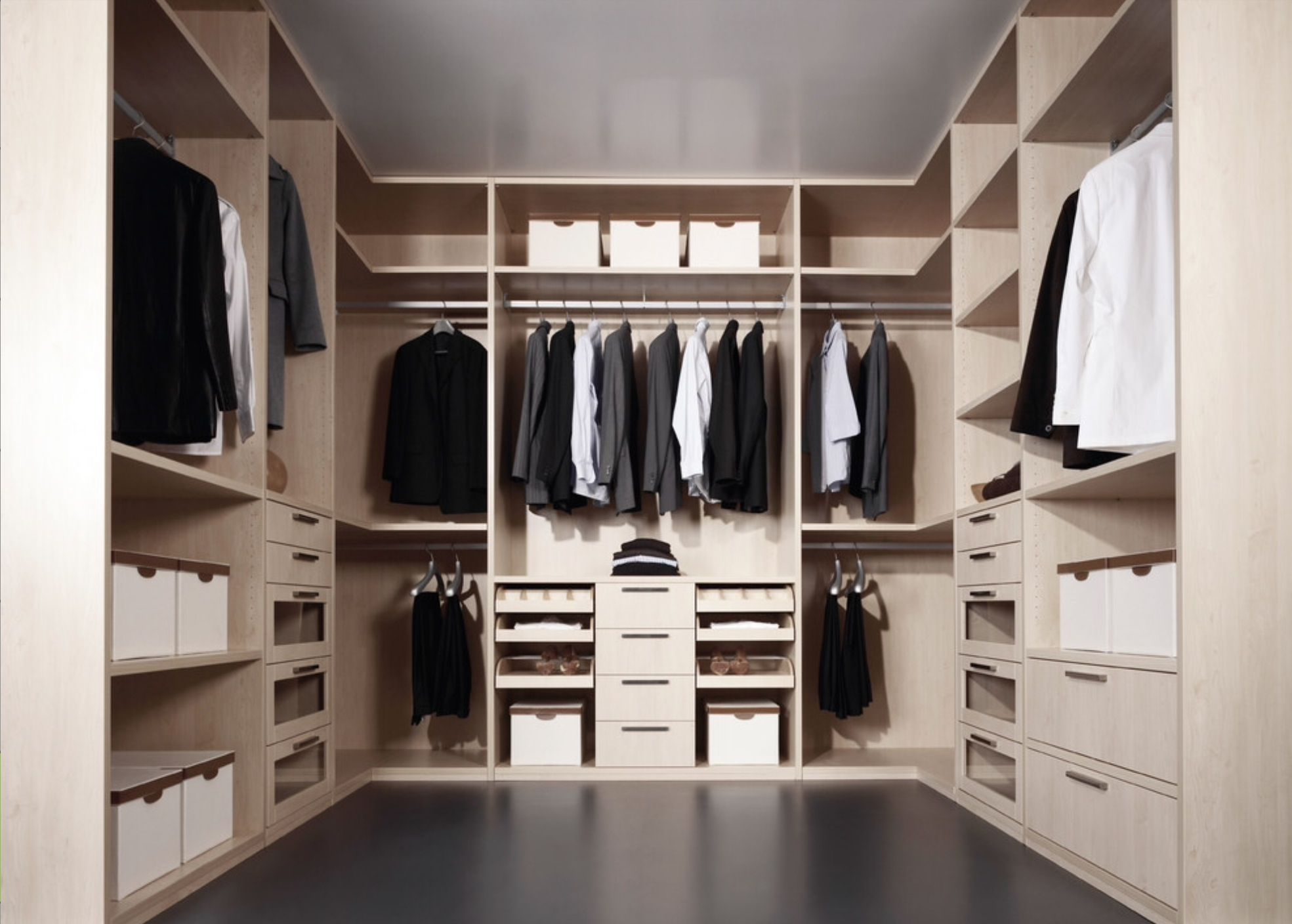 Walk in wardrobe mix of drawers open shelves and Walk in closet design