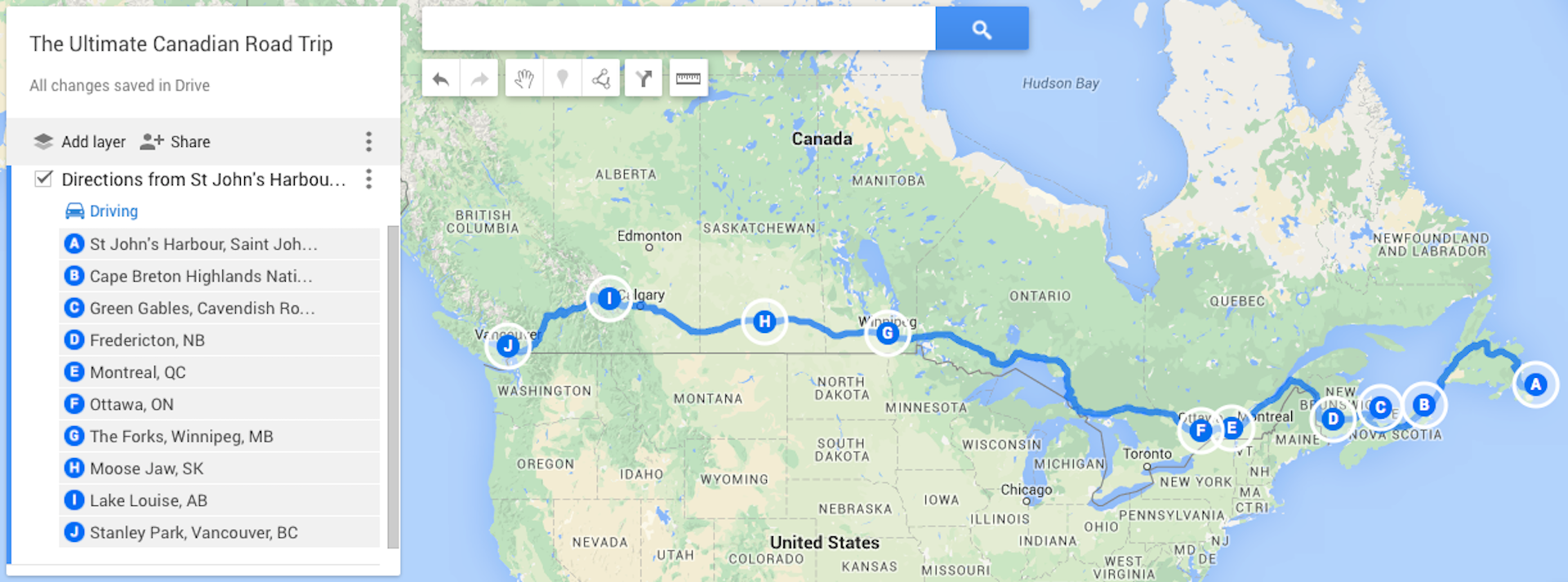 Map Of Canada Driving.A Map Of Canada That Highlights The Driving Route For The 10