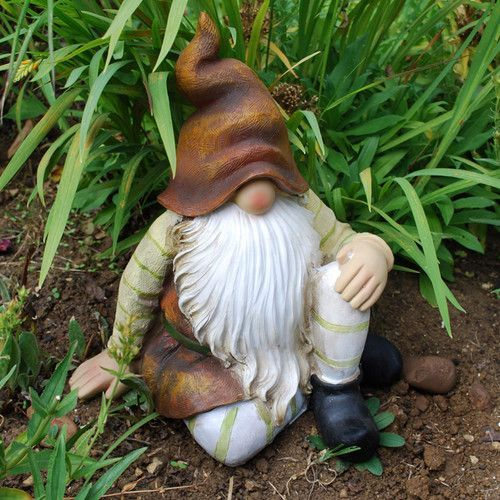 Gnome In Garden: Large Sitting Woodland Bearded Garden Gnome Ornament Brown