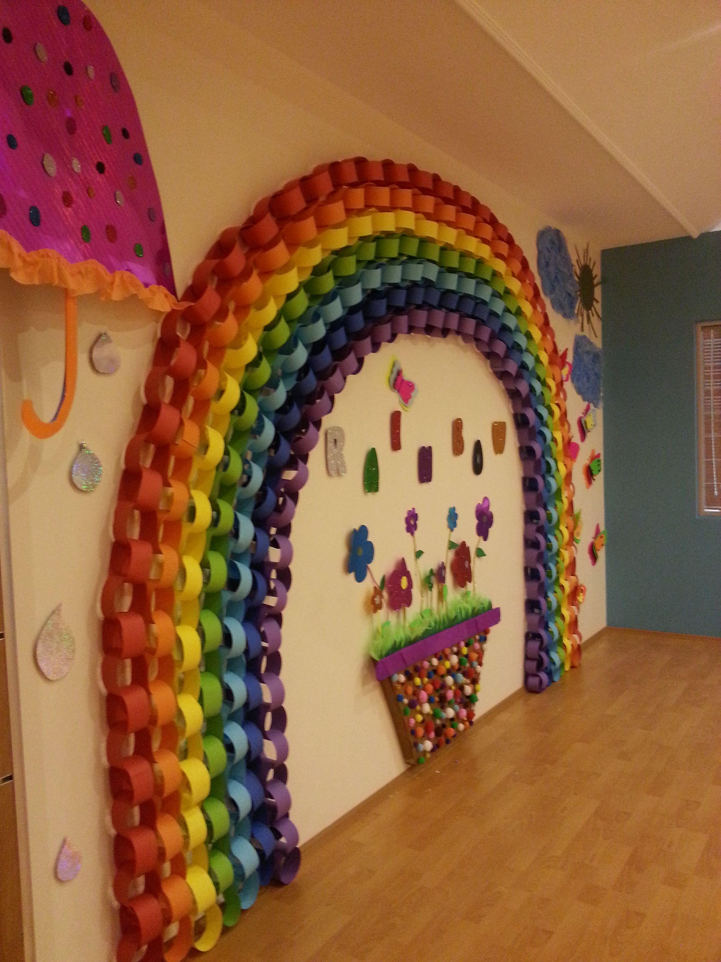 Rainbow Classroom Decor ~ Preschool kindergarten rainbow sunny sun paper rain flower