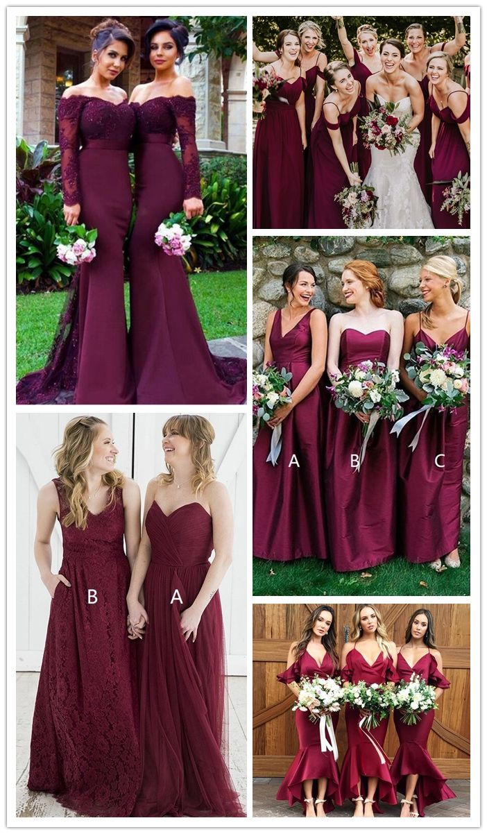 elegant burgundy long bridesmaid dresses, country mermaid