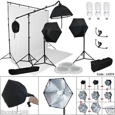 9'x15' White Backdrop Support Stand Photography Studio Video 3 Softbox Lighting