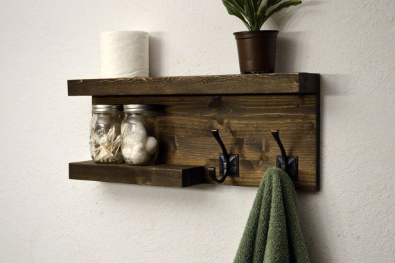 Modern Bathroom 2 Tier Floating Shelf Towel Rack 2 Bronze Robe Hooks Dark Walnut Rustic Wood Floating Shelves Bathroom Rustic Bathroom Shelves Floating Shelves