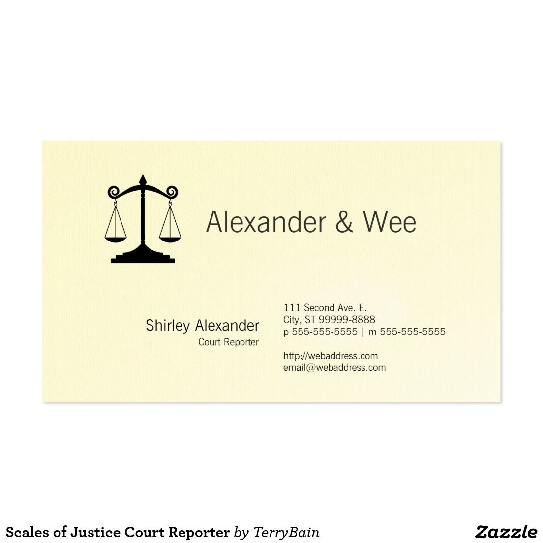 Scales of Justice Court Reporter Business Card | All Things Zazzle ...