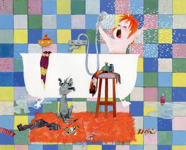 illustration of a little girl singing in the bathtub #robertwagt
