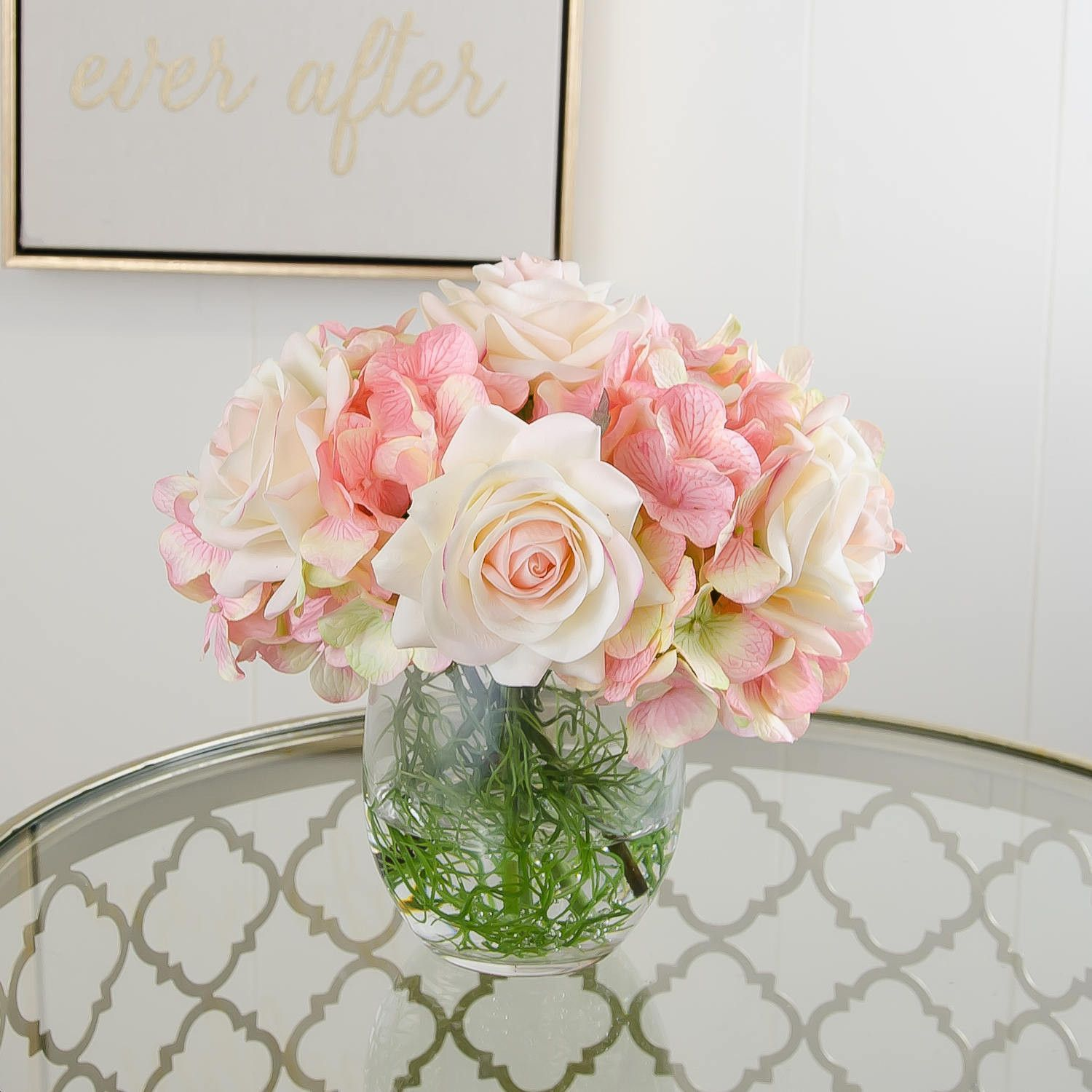 Real Touch Ivory Light Pink Tipped Roses Arrangement Pink Rose